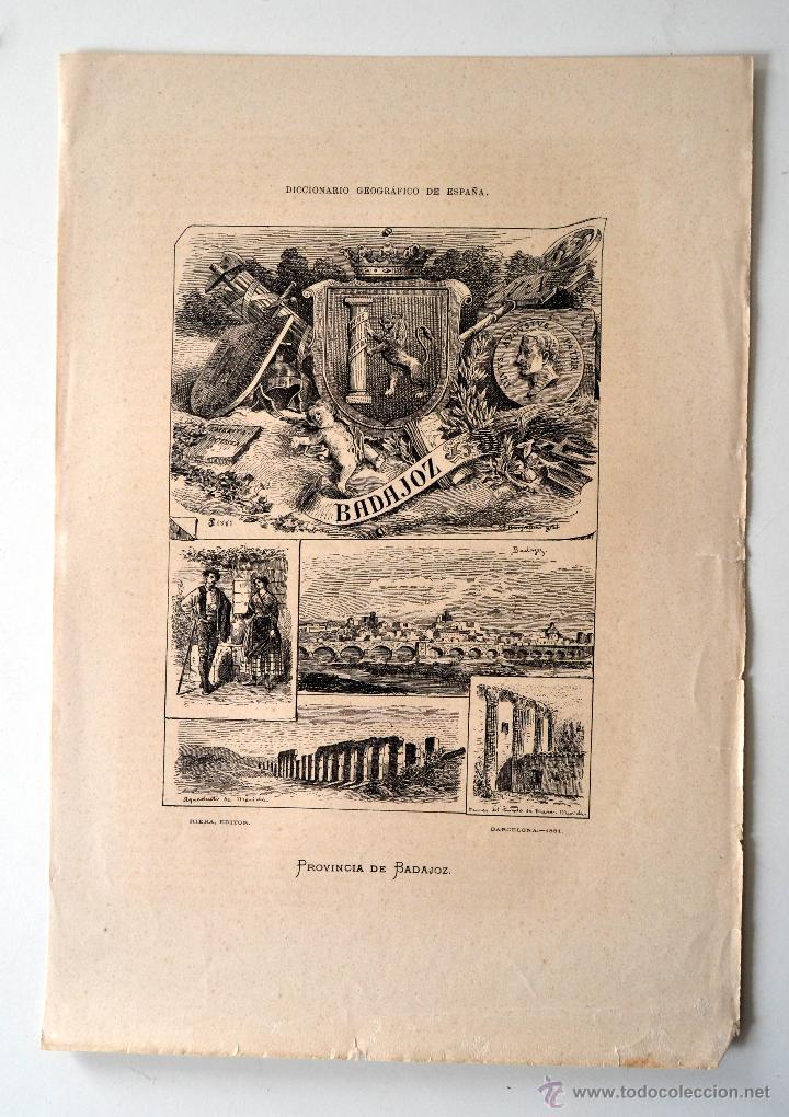 BADAJOZ * DICCIONARIO GEOGRAFICO - ESTADISTICO (Coleccionismo - Laminas, Programas y Otros Documentos)