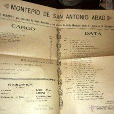 Coleccionismo: INTERESANTE Y CURIOSO DOCUMENTO MONTEPIO SAN ANTONIO ABAD MUTUA SEGUROS ALELLA 1915 GASTOS ENTRADAS. Lote 51806888
