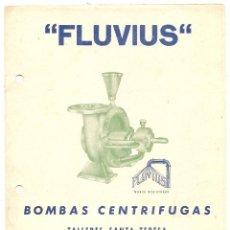 Coleccionismo: MEDINA DE RIOSECO (VALLADOLID). PUBLICIDAD DE BOMBAS CENTRÍFUGAS FLUVIUS. Lote 51815940