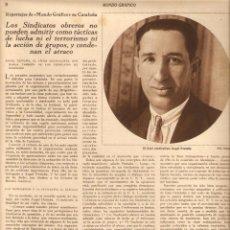Coleccionismo: AÑOS 30 RECORTE PRENSA MIGUEL UTRILLO ANGEL GANIVET EN SITGES ENTREVISTA ANGEL PESTAÑA SINDICALISMO . Lote 52350542