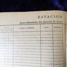 Coleccionismo: ANTIGUO LIBRO DE REGISTRO SIN USO, FERROCARRIL TREN, VER FOTOS. Lote 52541346