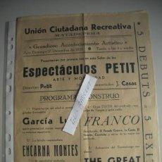 Coleccionismo: PROGRAMA UNION CIUTADANA RECREATIVA DE - MATADEPERA - GRANDIOSO ACONTECIMIENTO ARTISTICO -. Lote 52628896