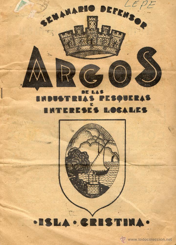 PERIODICO SEMANARIO DEFENSOR ARGOS-ISLA CRISTINA-AÑO 1936 (Coleccionismo - Laminas, Programas y Otros Documentos)