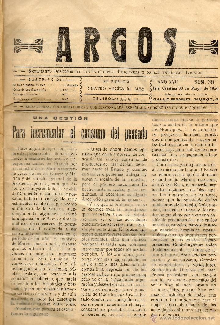 Coleccionismo: PERIODICO SEMANARIO DEFENSOR ARGOS-ISLA CRISTINA-AÑO 1936 - Foto 2 - 52825820