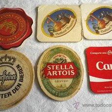 Coleccionismo: LOTE 6 POSAVASOS MARCAS BEBIDAS COCA COLA CERVEZA. Lote 52893403