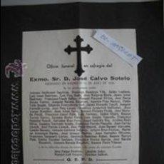 Coleccionismo: OFICIO FUNERAL EN SUFRAGIO EXMO SR.D- JOSE CALVO SOTELO-ASESINADO EN MADRID-13 JULIO DE 1936-TARRASA. Lote 52897214