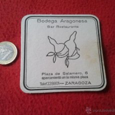 Coleccionismo: POSAVASOS COASTER TENGO MAS POSAVASOS VER LOTES BODEGA ARAGONESA BAR RESTAURANTE ZARAGOZA PLAZA DE S. Lote 52918734