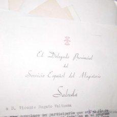 Coleccionismo: MAGISTERIO FALANGE ALICANTE DOCUMENTO 1956 DELEGADO A VICENTE REGAÑO. Lote 53125782