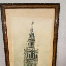 Coleccionismo: TORRE DE LA GIRALDA, SEVILLA. ANTIGUA LAMINA FOTOGRAFICA. 68X32CM. ENMARCADA.. Lote 53345032