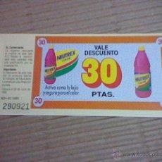 Coleccionismo: VALE DESCUENTO 1992 DETERGENTE NEUTREX COLOR 30 PTAS. Lote 53873652