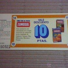 Coleccionismo: VALE DESCUENTO 1992 ZUMO ZUMOSOL 10 PTAS. Lote 53873874