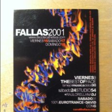 Collectionnisme: FLYER INVITACION DESCUENTO DISCOTECA THE FACE FALLAS 2001 DISCOTECAS VALENCIA. Lote 53944111
