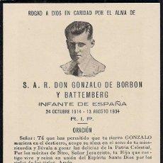 Coleccionismo: RECORDATORIO NECROLÓGICO DE S. A. R. DON GONZALO DE BORBÓN Y BATTEMBERG. Lote 53984168