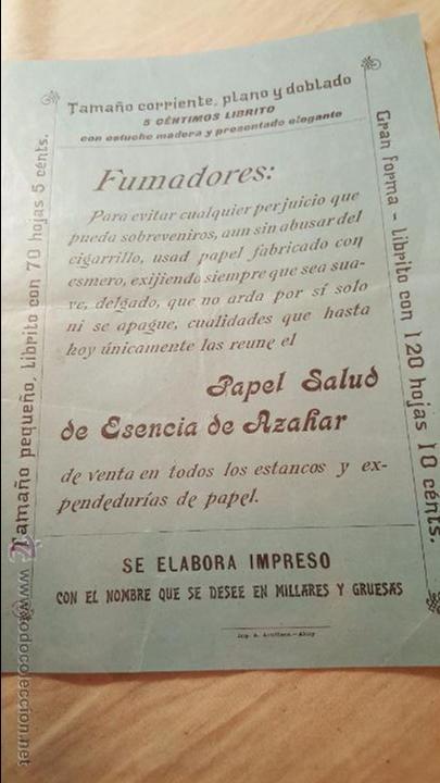 PAPEL DE FUMAR SALUD – ESENCIA DE AZAHAR – EL NIÑO – PASCUAL IVORRA - ALCOY -FOLLETO PUBLICITARIO- (Coleccionismo - Laminas, Programas y Otros Documentos)