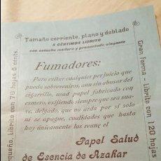 Coleccionismo: PAPEL DE FUMAR SALUD – ESENCIA DE AZAHAR – EL NIÑO – PASCUAL IVORRA - ALCOY -FOLLETO PUBLICITARIO-. Lote 54068298