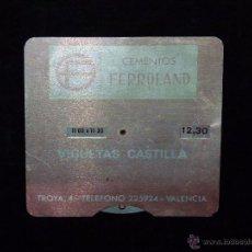 Coleccionismo: CEMENTOS FERROLAND (ASLAND). ANTIGUO HORARIO DE ALUMINIO SERIGRAFIADO. VALENCIA AÑOS 50. Lote 54109226