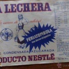 Coleccionismo: SOBRE ANTIGUO DE LECHE CONDENSADA MARCA LA LECHERA PRODUCTO NESTLE VACIO AÑOS 60. Lote 54207491