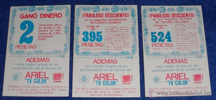 ARIEL - VALES DESCUENTO - SORTEO TV COLOR PHILIPS (Coleccionismo - Laminas, Programas y Otros Documentos)