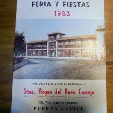 Coleccionismo: PROGRAMA FESTEJOS,PUERTO LAPICE, 1983. Lote 54447808