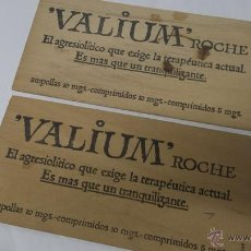 Coleccionismo: PUBLICIDAD ANTIGUA FARMACEUTICA FARMACIA VALIUM ROCHE MADERA. Lote 54678465