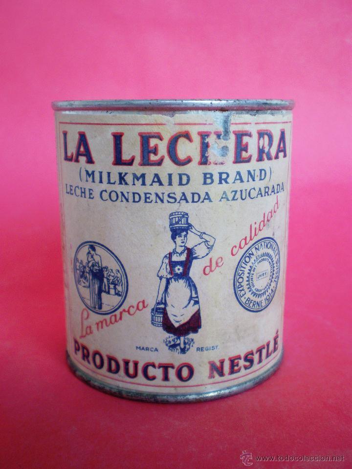 BOTE LECHE *LA LECHERA* -AÑO 1956- LECHE CONDENSADA AZUCARADA, 370 GR. SOCIEDAD NESTLÉ (Coleccionismo - Varios)