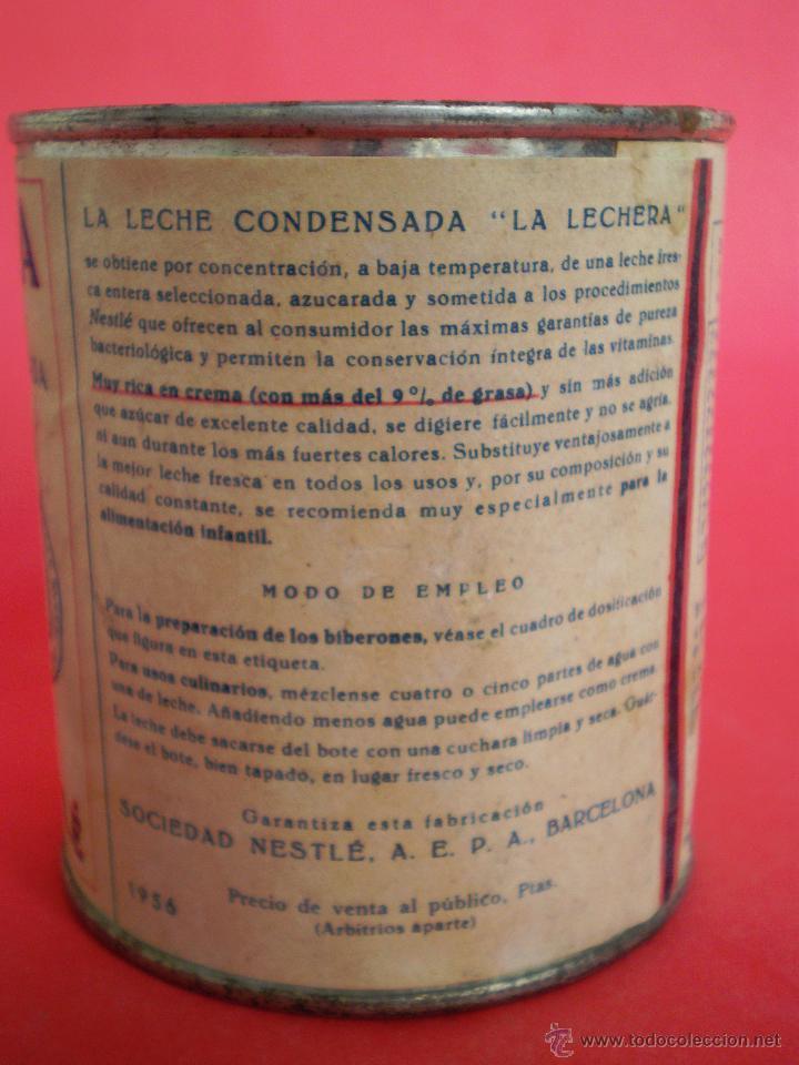 Coleccionismo: BOTE LECHE *LA LECHERA* -AÑO 1956- LECHE CONDENSADA AZUCARADA, 370 GR. SOCIEDAD NESTLÉ - Foto 4 - 119622967