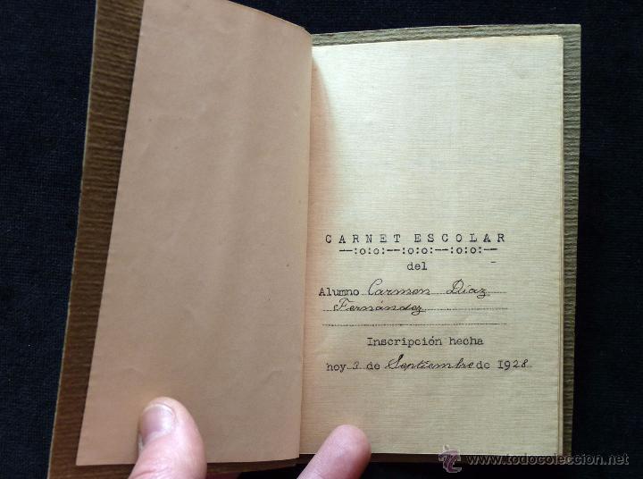 Coleccionismo: ANTIGUA LIBRETA AGENDA CARNET ESCOLAR COLEGIO DE COLÓN 16 x 11,5 cm.. VALENCIA 1928 - Foto 3 - 54855156