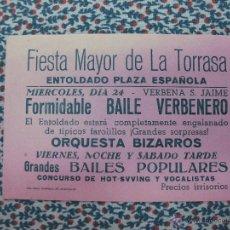 Coleccionismo: FIESTA MAYOR DE LA TORRASSA. ORQUESTA BIZARROS. BAILE VERBENERO.. Lote 54987433