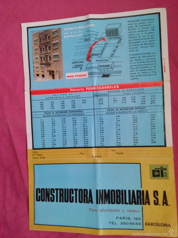 BARCELONA. PUBLICIDAD DE CONSTRUCTORA INMOBILIARIA. PISOS EN BARCELONA Y RIPOLLET (Coleccionismo - Laminas, Programas y Otros Documentos)