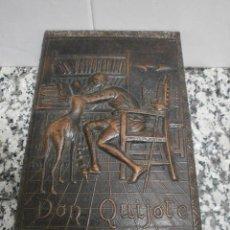 Coleccionismo: CAJA TABACO CUERO REPUJADO DON QUIJOTE. Lote 55555491