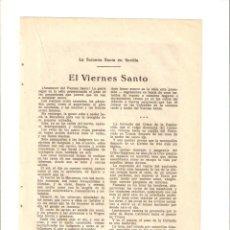 Coleccionismo: AÑO 1922 RECORTE PRENSA SEVILLA SEMANA SANTA VIERNES SANTO SAETAS DE SEMANA SANTA PARTITURA MUSICA. Lote 55637824