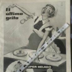 Coleccionismo: PUBLICIDAD HELADOS CAMAY DE 1958. Lote 55683433
