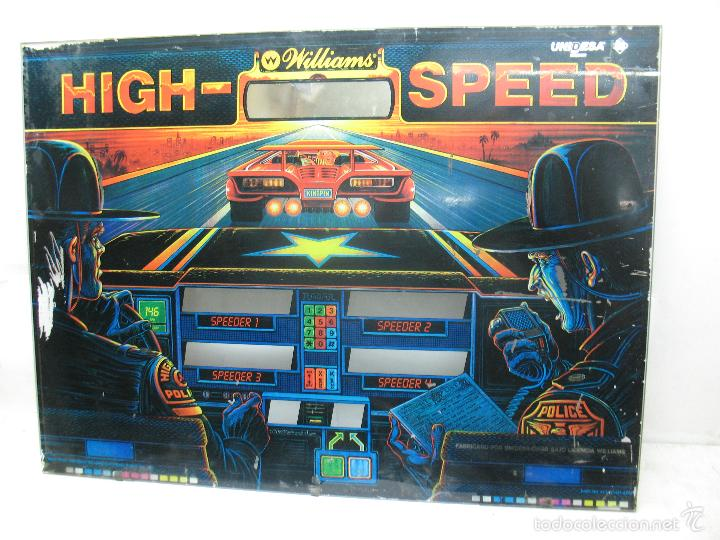 ANTIGUO FRONTAL DE PINBALL DE CRISTAL HIGH - SPEED WILLIAMS PERSECUCIÓN POLICIA (Coleccionismo - Varios)
