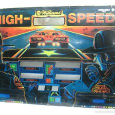 Coleccionismo: ANTIGUO FRONTAL DE PINBALL DE CRISTAL HIGH - SPEED WILLIAMS PERSECUCIÓN POLICIA. Lote 55732733