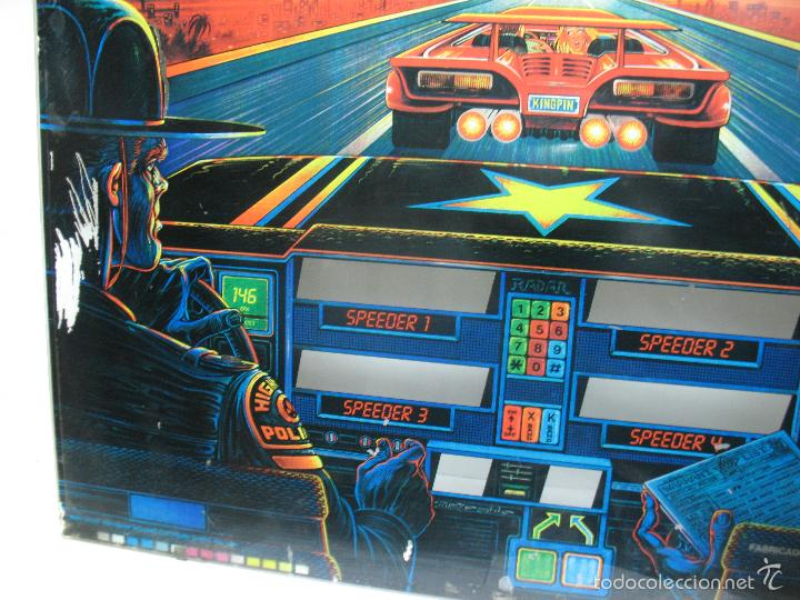 Coleccionismo: Antiguo frontal de pinball de cristal HIGH - SPEED Williams Persecución Policia - Foto 2 - 55732733
