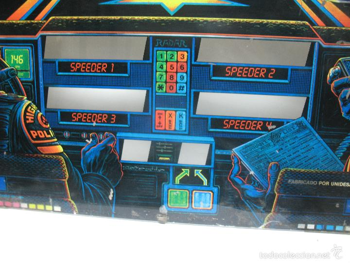 Coleccionismo: Antiguo frontal de pinball de cristal HIGH - SPEED Williams Persecución Policia - Foto 4 - 55732733