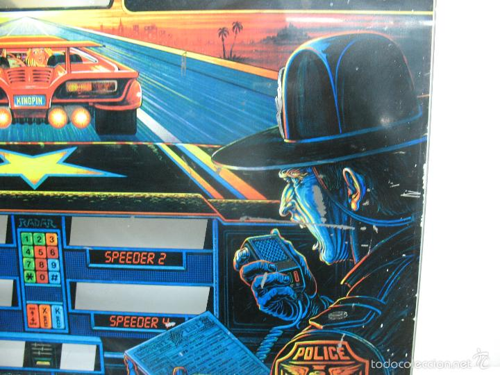 Coleccionismo: Antiguo frontal de pinball de cristal HIGH - SPEED Williams Persecución Policia - Foto 6 - 55732733