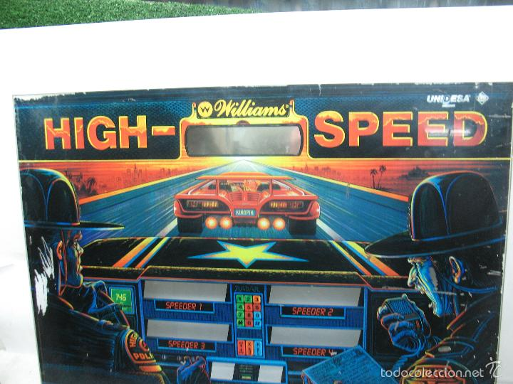 Coleccionismo: Antiguo frontal de pinball de cristal HIGH - SPEED Williams Persecución Policia - Foto 7 - 55732733