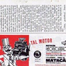 Coleccionismo: ANUNCIO PUBLICIDAD MOTORES MATACAS. Lote 55801991