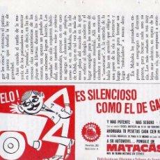 Coleccionismo: ANUNCIO PUBLICIDAD MOTORES MATACAS. Lote 55802016