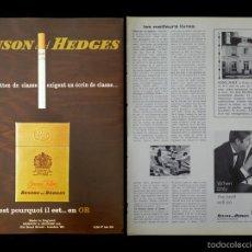 Coleccionismo: LOTE PUBLICIDAD VINTAGE 1965, CIGARRILLOS BENSON & HEDGES [1 HOJA COMPLETA Y UN CUARTO DE HOJA]. Lote 55812421