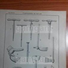Coleccionismo: LAMINA - CARPINTERIA DE ARMAR -AÑO 1912- 24.5 X 15,5 CM (REF BD) TRABAJO , HERRAMIENTAS Y MAQUINAS . Lote 56164500