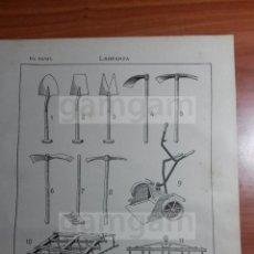 Coleccionismo: LAMINA - LABRANZA HUERTA -AÑO 1912- 24.5 X 15,5 CM (REF BD) TRABAJO , HERRAMIENTAS Y MAQUINAS. Lote 56164620
