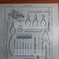 Coleccionismo: LAMINA - RELOJERIA RELOJ -AÑO 1912- 24.5 X 15,5 CM (REF BD) TRABAJO , HERRAMIENTAS Y MAQUINAS . Lote 56164632