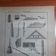 Coleccionismo: LAMINA - ESTUQUISTA OBRA -AÑO 1912- 24.5 X 15,5 CM (REF BD) TRABAJO , HERRAMIENTAS ANTIGUAS. Lote 56164681