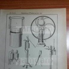 Coleccionismo: LAMINA - GASEOSAS GAS -AÑO 1912- 24.5 X 15,5 CM (REF BD) TRABAJO , HERRAMIENTAS Y MAQUINAS. Lote 56164731