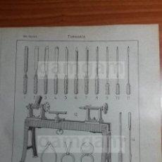 Coleccionismo: LAMINA - TORNERIA -AÑO 1912- 24.5 X 15,5 CM (REF BD) TRABAJO , HERRAMIENTAS Y MAQUINAS ANTIGUAS. Lote 56164788