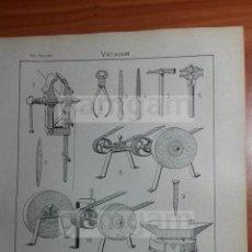 Coleccionismo: LAMINA - VACIADOR -AÑO 1912- 24.5 X 15,5 CM (REF BD) TRABAJO , HERRAMIENTAS Y MAQUINAS ANTIGUAS. Lote 56164796