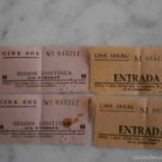 Coleccionismo: 4 ANTIGUAS ENTRADAS DE CINE. Lote 56167380