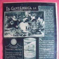 Coleccionismo: SANTOÑA.-RIBADESELLA.-LAREDO.-SANTANDER.-LA CANTABRICA S.A.-CONSERVAS.-SALAZONES.-PESCADOS.-AÑO 1932. Lote 56184904